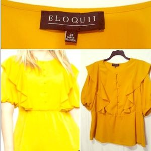 Eloquii Short Sleeve Top w/Ruffle Detail. Size 20